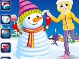 Winter Snowman and Girl