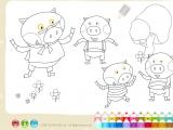 Flash игра для девочек Раскраски: Piggs