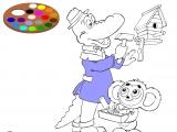 Раскраски: Гена и Чебурашка