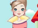 Милая принцесса в парке развлечений