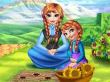 Анна и её дочь на огороде